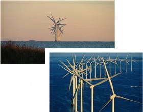 デンマークの洋上風力発電施設